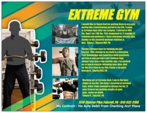 Extreme Gym marketing postcards
